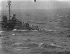 USS Maddox DD-731 Allen M. Sumner class destroyer in trouble as the typhoon overtakes the Third Fleet