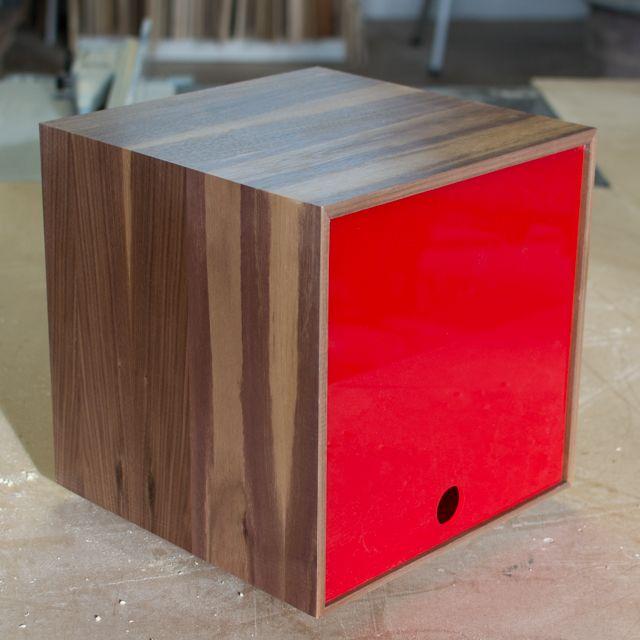 storage cube great for vinyl lps u0026 book storage in red walnut
