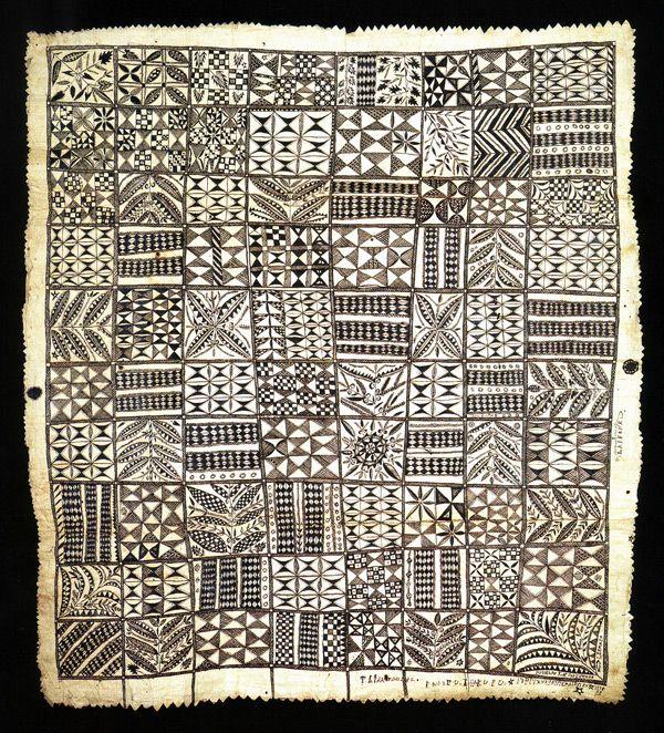Hiapo, 261 x 236cm  c. 1885  Auckland Institute and Museum. (Tapa cloth)