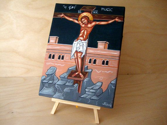 Crucifixion- Stavrosis - Jesus Christ - Original Hand Painted Greek Religious Art Christian Icon On Canvas 18x25cm FREE SHIPPING on Etsy, 55,00 €