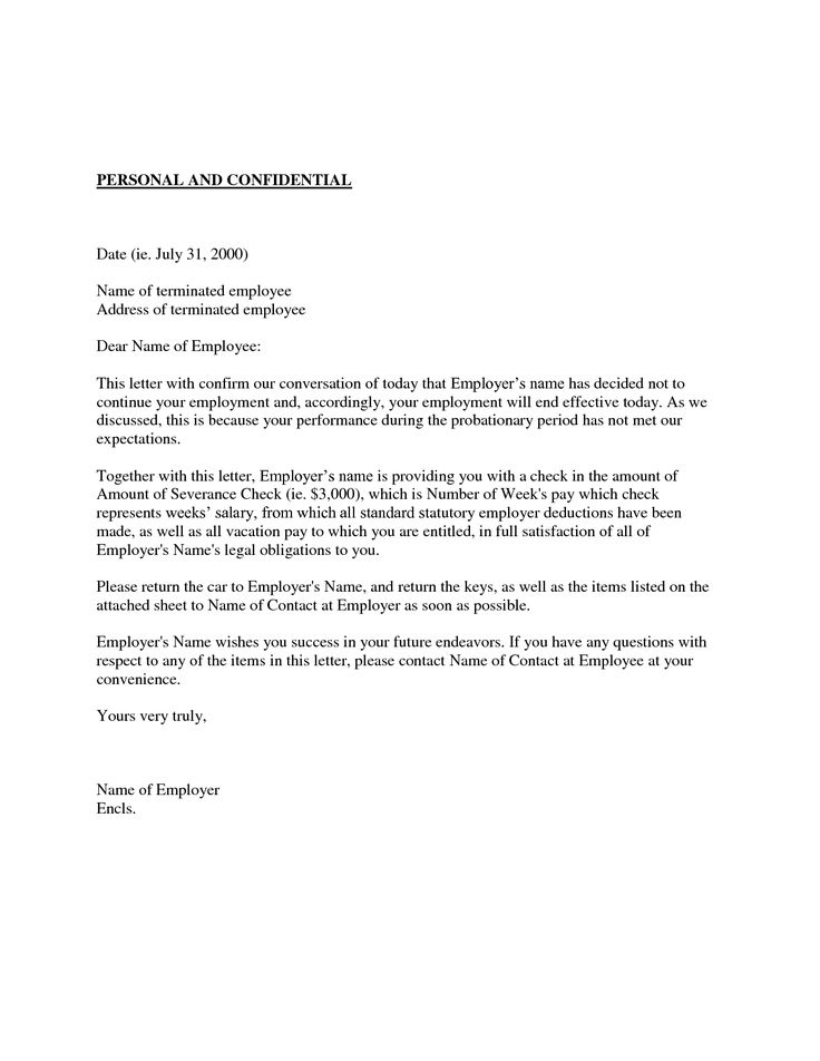 Sample Dismissal Letter For Employees Without Unfair Dismissal