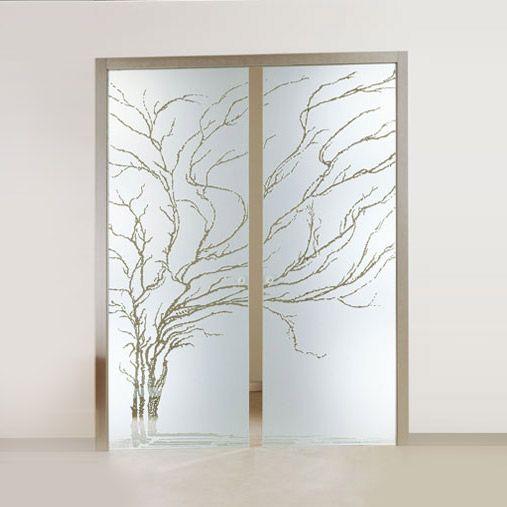 Porta interna a due ante in legno con vetro decorato