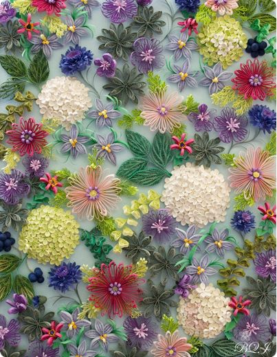 Absolutely beautiful! Artist: Arita Makiko - Quilling or paper filigree, is where strips of paper are rolled, shaped, and glued together to create decorative designs. Paper is wound around a quill to create a basic coil shape then glued at the tip and arranged to form flowers, leaves, and ornamental patterns.