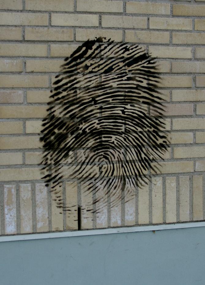 fingerprint (Umeå, Sweden)  This should be on the exterior of the police station. :)
