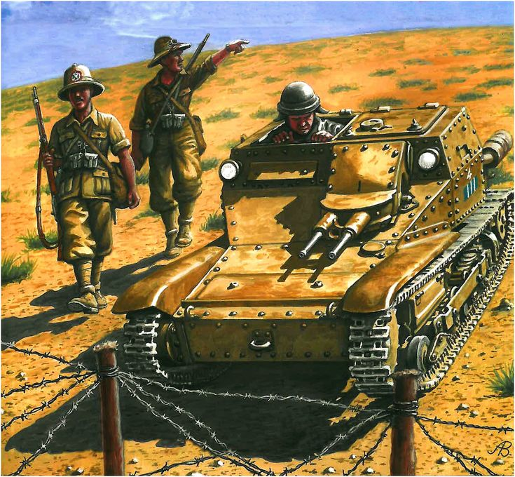 "Carro Veloce CV.33 / 35, 132nd Armored Division ""Ariete"" Battaglione VIII, 2nd Company, 3. Peloton and ""paragraph 4"" indicates the position of the car in the pack; Sector Bardia, Libya, 1941."