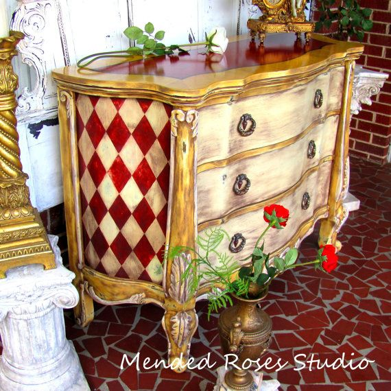 Amazing Hand Painted Buffet/server Or Chest Of Drawers Annie Sloan Chalk  Paint Antiqued Distressed
