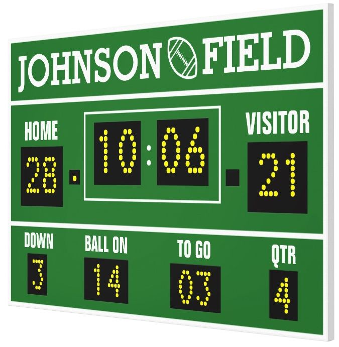 "Personalize your own Football Scoreboard Wrapped Canvas!  60"" x 40"" or 36"" x 24"" 