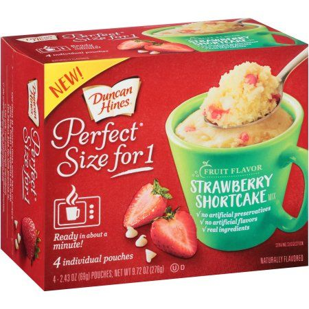 Duncan Hines Perfect Size for 1 Fruit Flavor Strawberry Shortcake Mix, 2.43 oz, 4 count