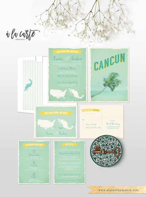 Destination wedding invitation Cancun Mexico by alacartepaperie