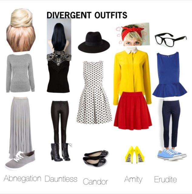 Divergent outfits!! I like the Dauntless and Erudite ones the best.