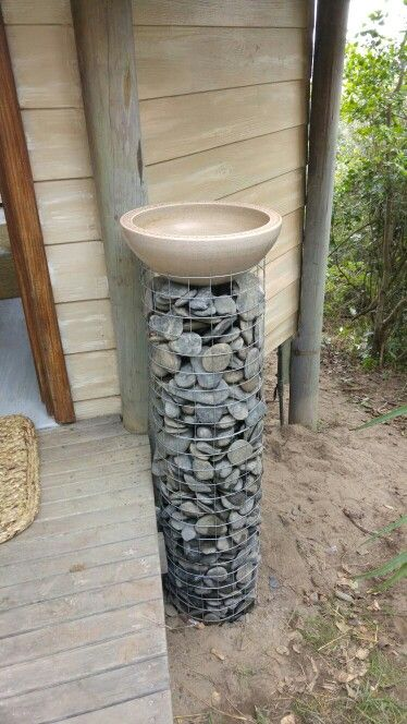 Outdoor hand wash basin for a tranquil beauty spa