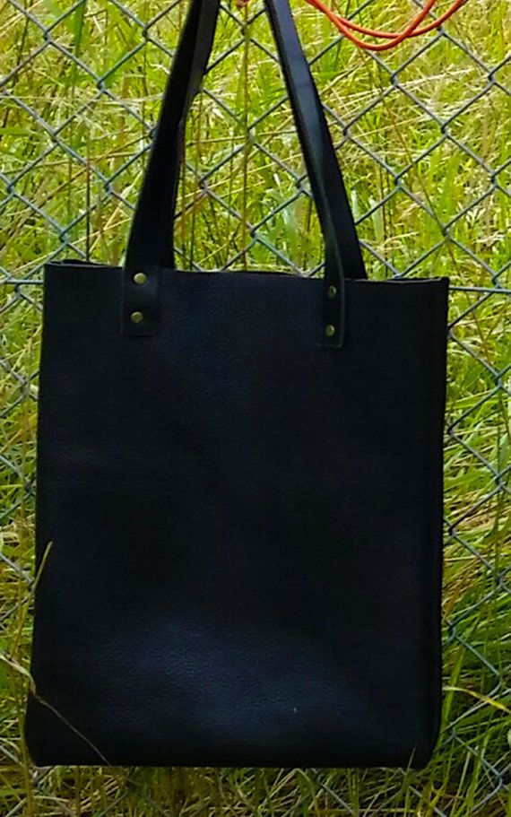 Large handmade black leather tote bag by AGOODHIDING on Etsy, £50.00