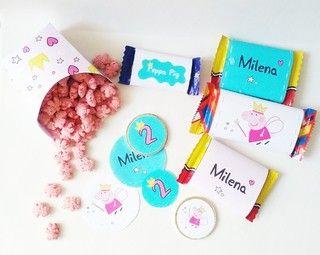 Etiquetas y cajitas de golosinas para tu candy bar de Peppa! Mirá todas las fotos del kit imprimible en www.cumplekits.com