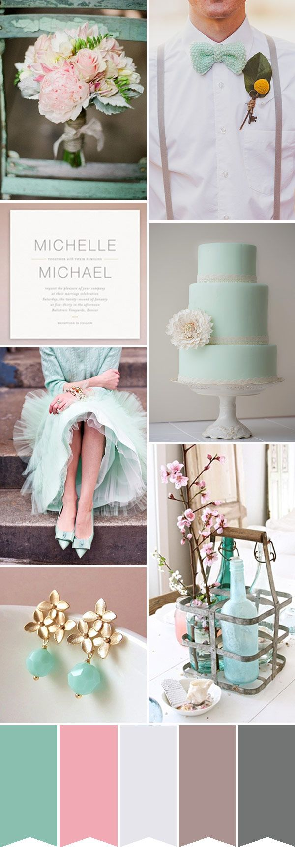 A Pretty Pink & Merry Mint Wedding Inspiration | One Fab Day