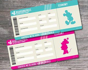 Printable Pdf Ticket For Surprise Walt Disney World Trip Disney World Tickets Disney World Disney Tickets