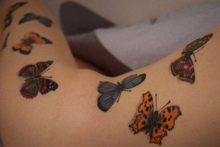 Realistic butterfly tattoo, up side