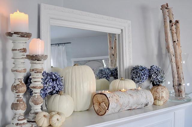 Fall mantel at Restoration House/http://bringrestoration.blogspot.com/  Blues!