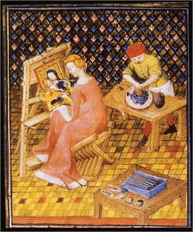 78-MINIATURISTE MEDIOEVALI-------------La pittrice TIMARETE e ,dietro di lei,un aiutante che macina e prepara i colori.Da un manoscritto miniato del 1403 .