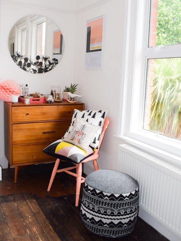 mid century natural wood, colourpop, donna wilson textiles bedroom design