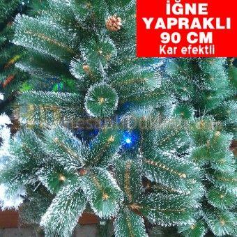 iğne yapraklı yeşil beyaz kar efektli 90 cm kozalaklı yılbaşı ağacı
