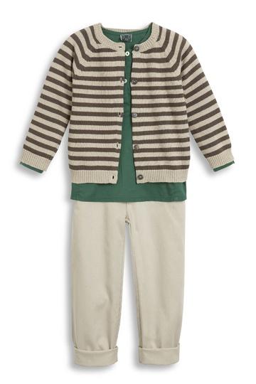 Collection Bonton été 2013 ♥ Tunique Basilic en voile ♥ Pantalon Berry en toile ♥  Cardigan rayé