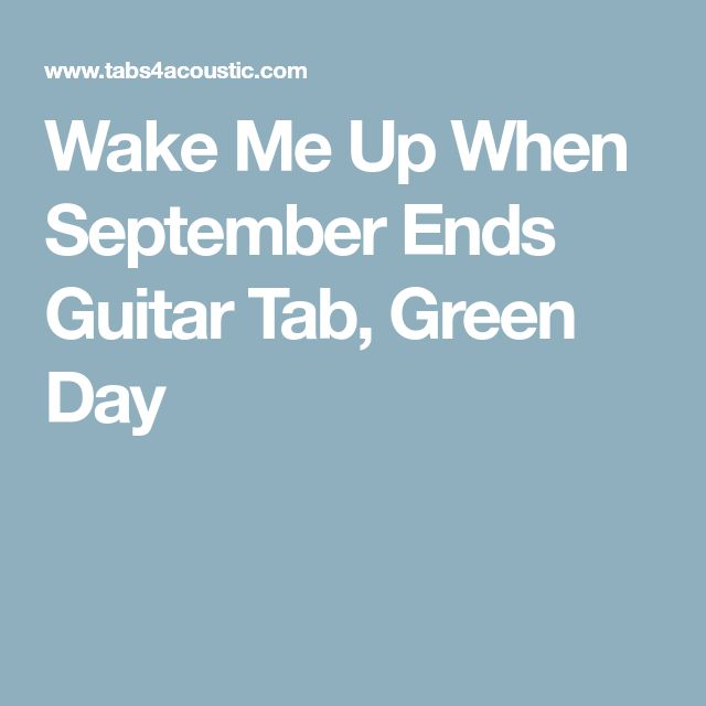 Wake Me Up When September Ends Guitar Tab, Green Day