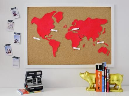 A fun way to mark where you've been and where you're going, a large world map made out of cork gives you limitless possibilities. A neon hue makes this classic wall feature thoroughly modern.