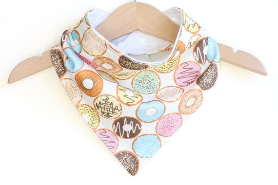Organic Cotton Baby Bandana Bib  Donuts Girl  Adjustable by raenne, $14.00