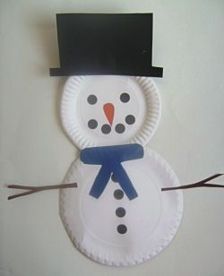 snowman paper plate | Paper Plate Snowman | Christmas Crafts for Kids