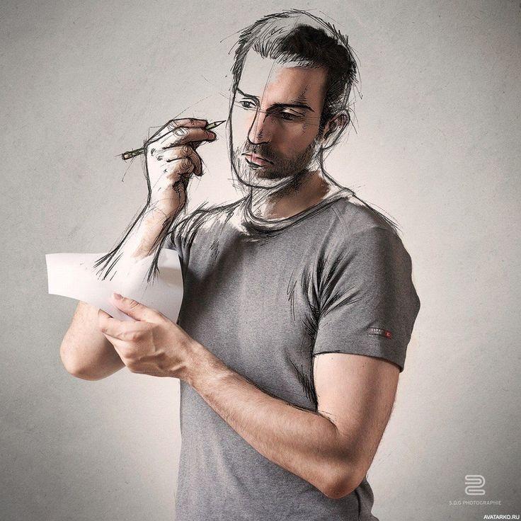 Мужчина рисует собственное лицо и тело — Картинки и авы (с ...