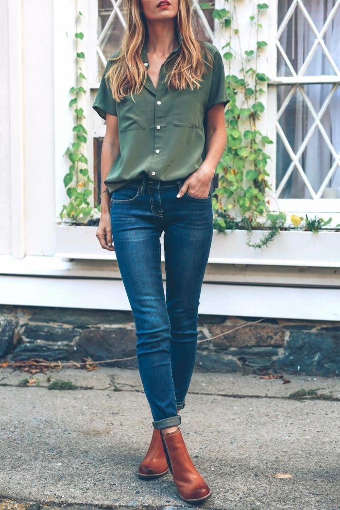 Belle couleur camel boots camel bottine marron robe avec bottine jean et chemise associer des bottines marrons