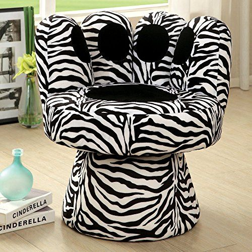 Furniture of America Furniture of America Fun Upholstered Accent Chair, Zebra Print, Fabric Furniture of America Dimensions: 29W x 27D x 29H in. Fun contemporary design Soft fabric upholstery in animal print designs Frame crafted of solid wood Features swivel abilities