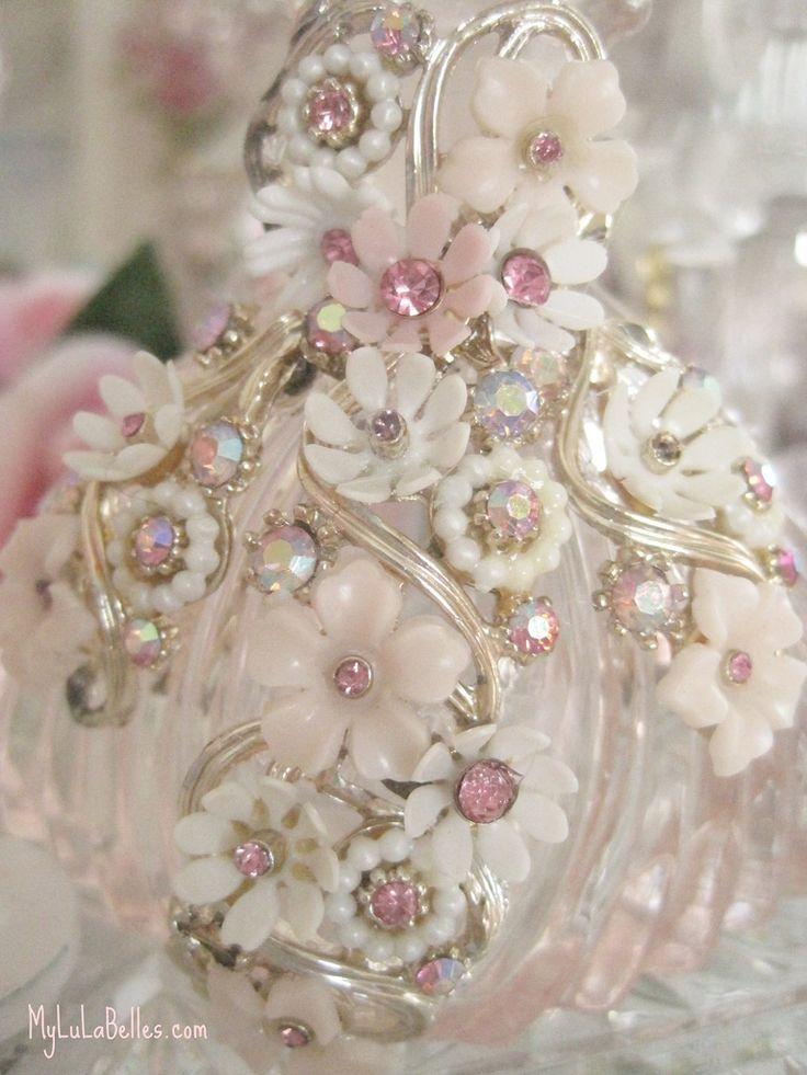 Pink Jeweled Vintage perfume bottle