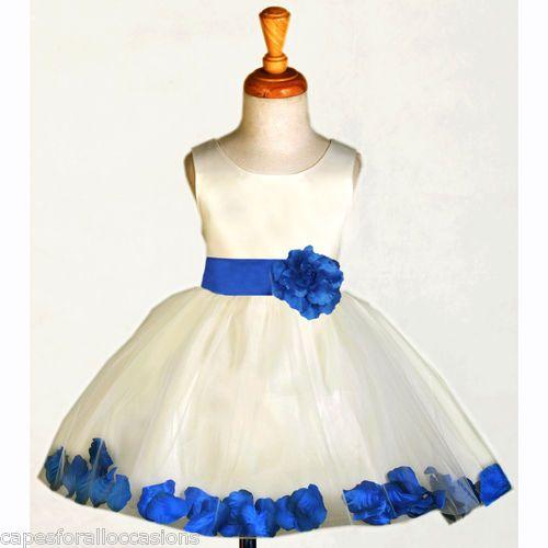 Ivory Royal Blue Formal Holiday Kids Wedding Flower Dress 12 18m 2 4 6 8
