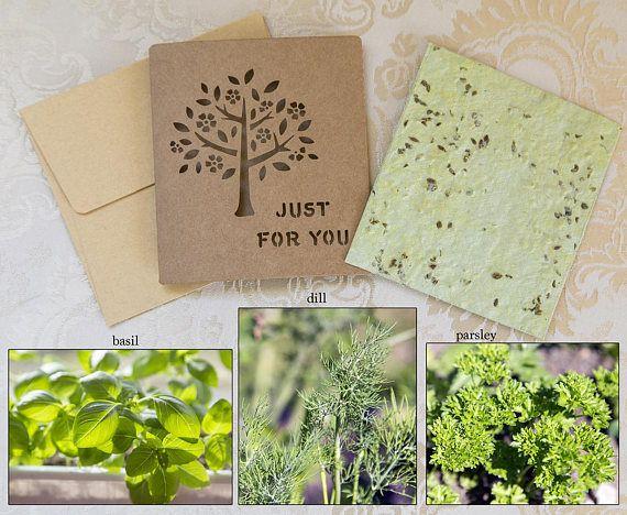 Tarjeta de papel semilla semillas de hierba tarjeta de papel