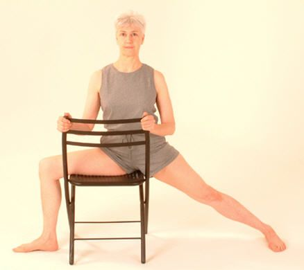 12 yoga positions with modifications for those with limited mobility - uses chair, table, bolsters for props