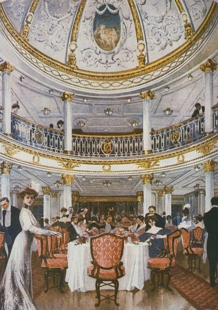 Drawing of the First class dining saloon of the RMS Lusitania.