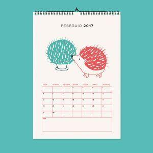 calendario illustrato | calendario da parete | illustrazione cactus