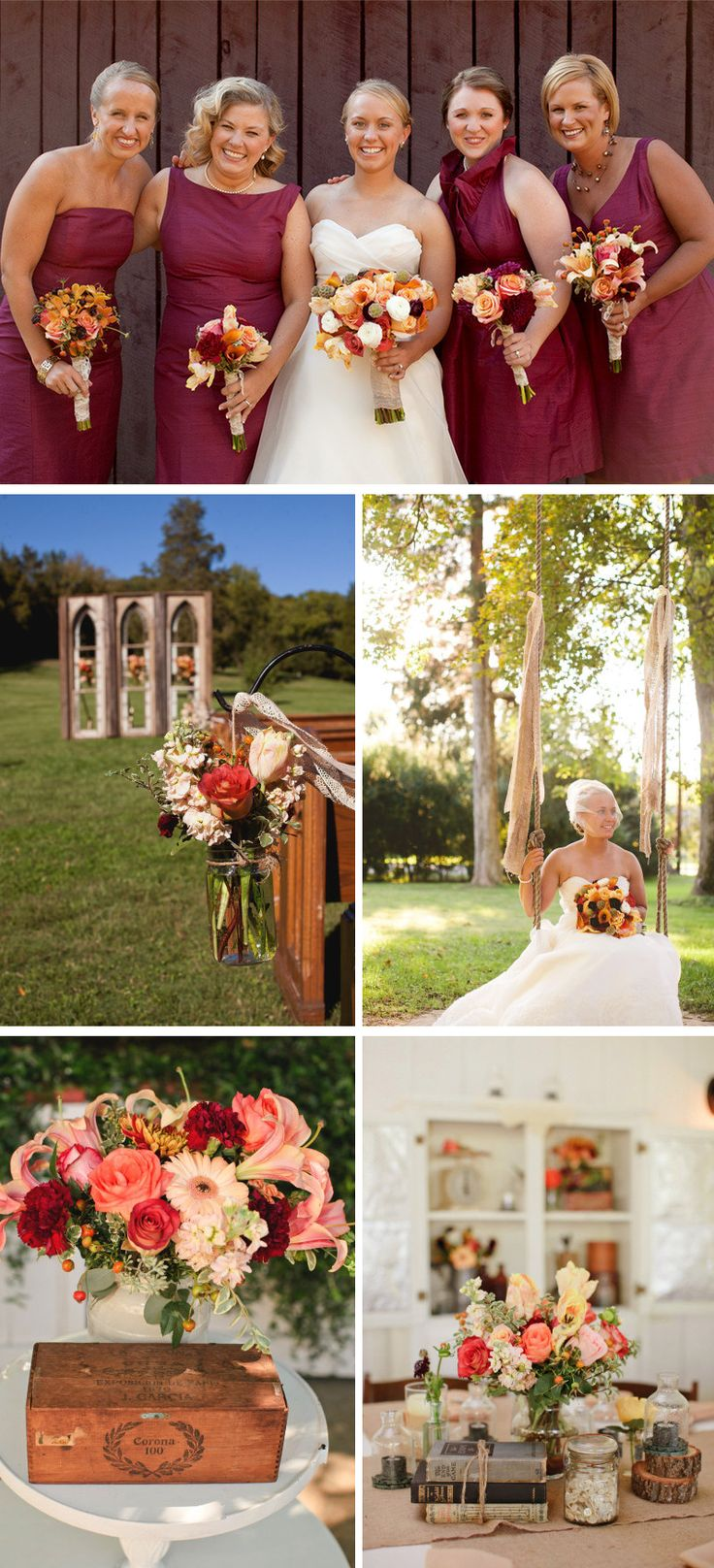 outdoor country western themed wedding colorful wedding flowers centerpieces maroon bridesmaids dresses