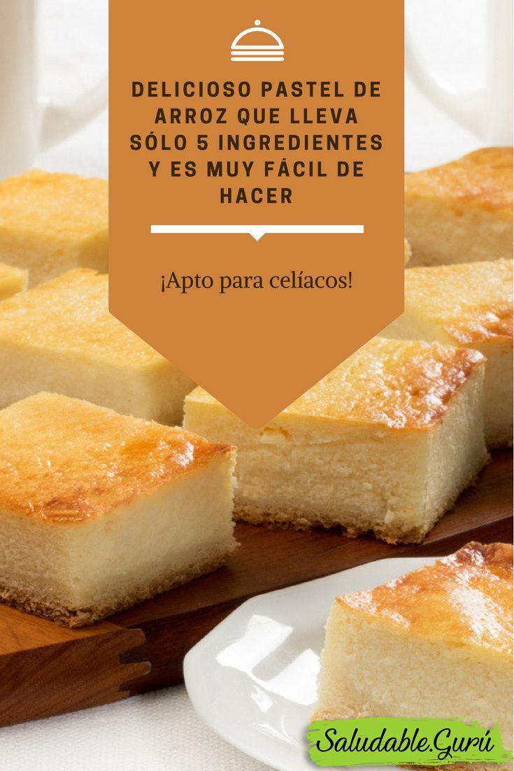 Delicioso pastel de arroz que lleva sólo 5 ingredientes y es muy fácil de hacer. Apto para celíacos.
