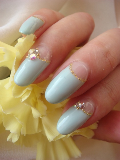 Pale blue nails with stones