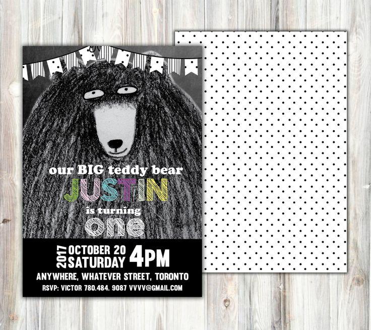 Teddy bear black and white invitation - boy or girl birthday-chalkboard- front and back - adigital printable-hand drawing-pokadot teddy bear #BlackAndWhite #Chalkboard #GreyscaleBirthday #TeddyBearBirthday #TeddybearInvitation #BirthdayInvitation #GreyBear #BlackBirthday #WhiteBirthday #PokaDotBirthday #Flag #StripsBirhday #GreyAndWhite
