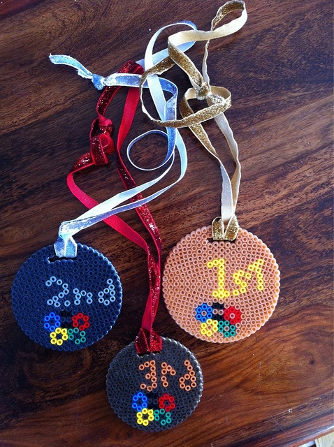 Hama Bead Gold, Silver & Bronze medals. by Merrily Me