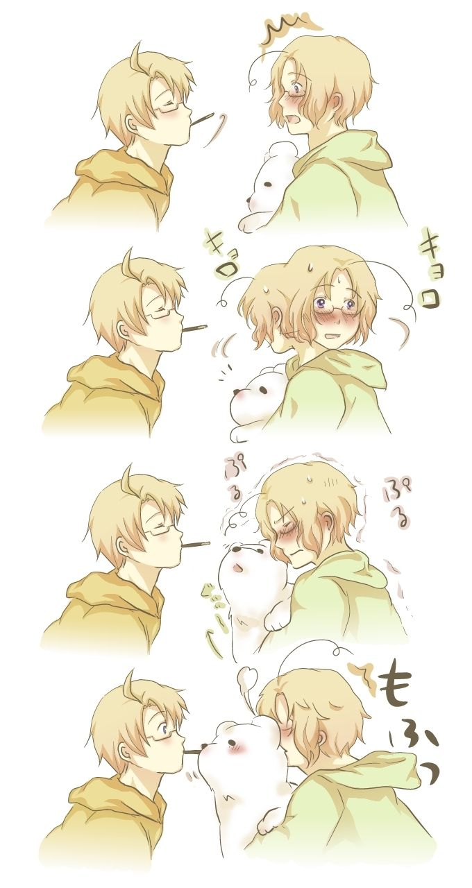 Alfred wants to play the Pocky game, but it looks like Matthew's got some plans of his own! - Art by アイル on Pixiv, found via Zerochan