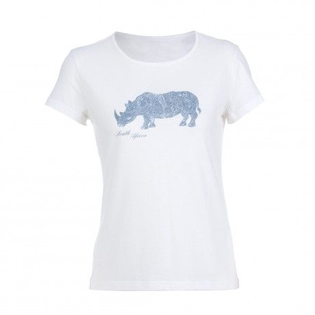 The Rare Earth South African T-shirt is made from 100% cotton and features a rhino motif on the front.