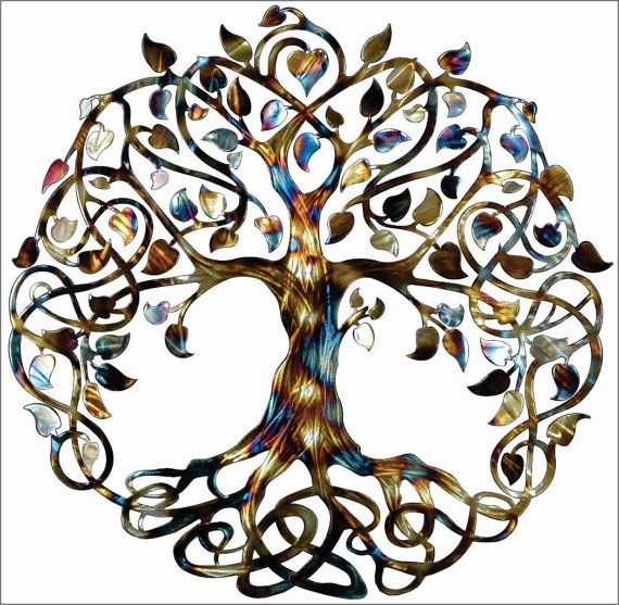 Tree of Life Infinity Tree by Humdinger Designs.    This Heat treated Tree of Life Infinity Tree is 23.5  diameter. Cut from steel, with