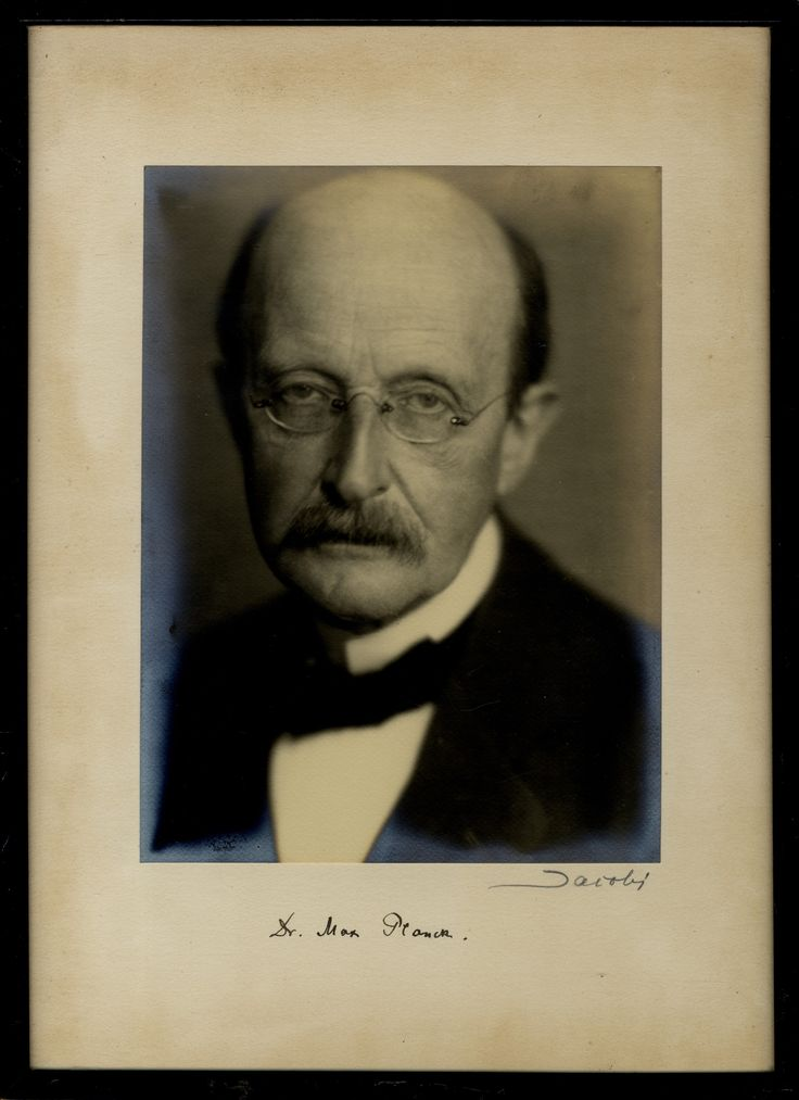 PLANCK MAX: (1858-1947) German Theoretical Physicist, noted for his work on quantum theory. Nobel Prize winner for Physics, 1918.   An outstanding vintage signed 9.5 x 13 photograph of Planck in a head and shoulders pose looking directly towards the camera in a determined manner. Photograph by Lotte Jacobi and signed ('Jacobi') by her in bold pencil to the lower photographer's mount. Signed ('Dr. Max Planck') by Planck in bold, dark fountain pen ink with his name alone.