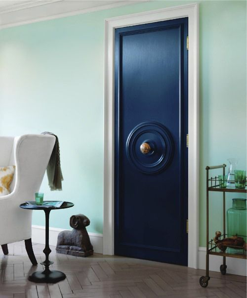 {turquoise} && {navy}: Decor, Wall Colors, Colors Combos, The Doors, Mint Wall, Black Doors, Blue Doors, Ceilings Medallions, Doors Knobs