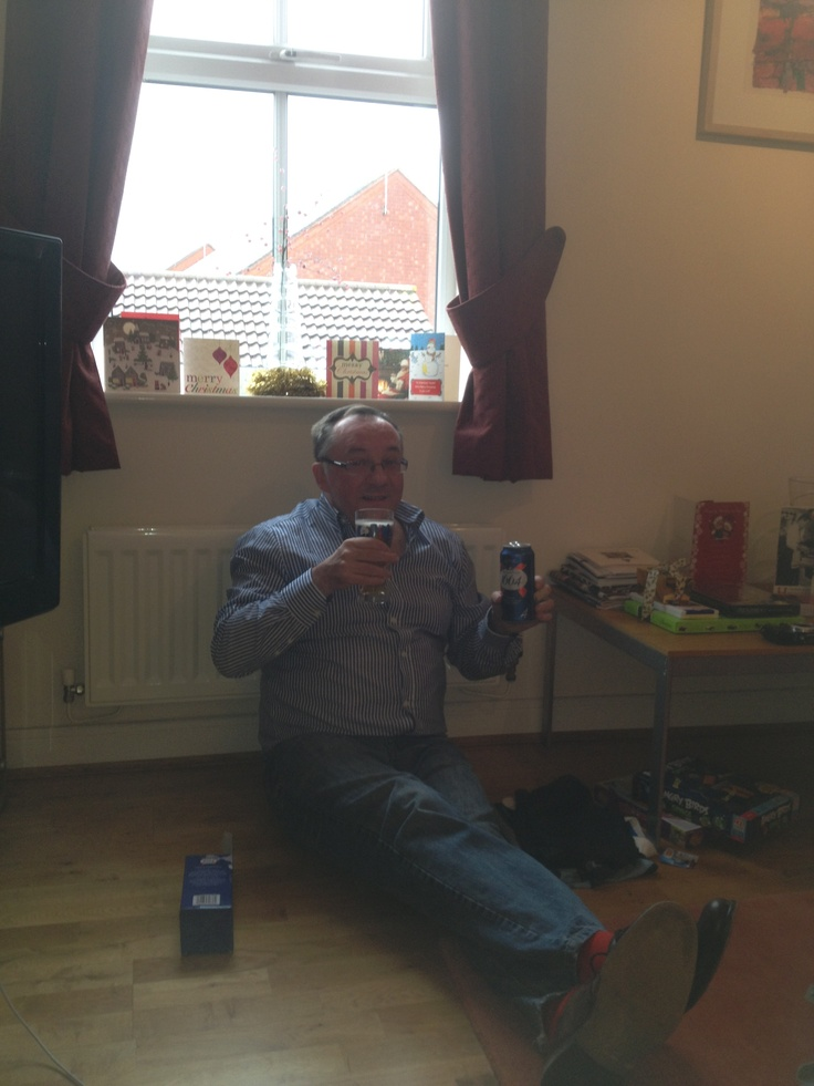Ian drinking Kronenbourg 1664 at home in Dickens Heath