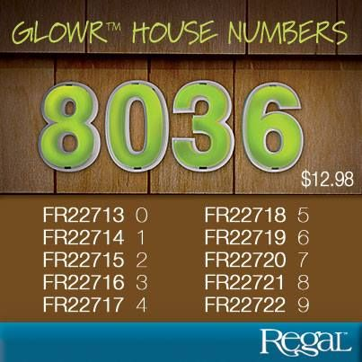 """GLOWR™ HOUSE NUMBERS Revolutionary marking system. After the numbers are exposed to just 8 mins. of light they will glow for up to 24 hours. Easy to install, self charging with no maintenance. Made of weather resistant glow-in-the-dark plastic. Made in Canada. (Each approx. 6-1/2""""H x 4-1/2""""W)"""
